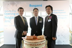 左 Ikegami APAC社長 山口 中央 代表取締役社長 清森 右取締役海外事業本部長 樫村